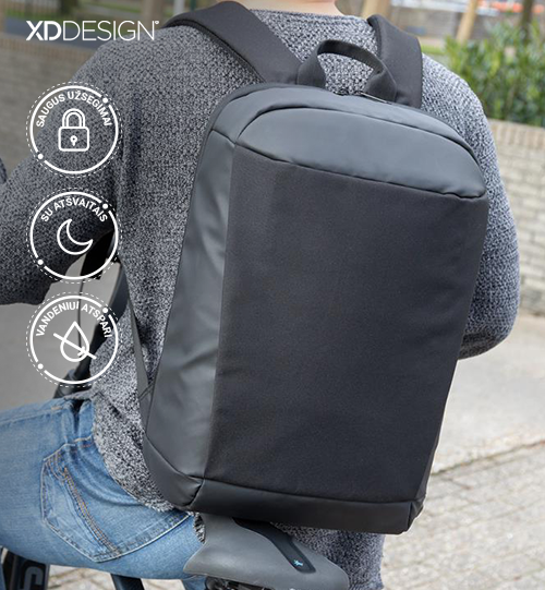XD DESIGN® Madrid anti-theft RFID USB laptop backpack PVC free kuprinė
