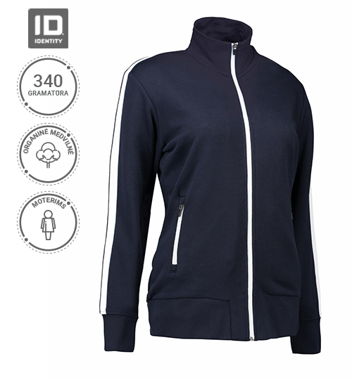 Džemperis su užtrauktuku Ladies' cardigan | contrast stripe stripe ID Identity NO. 0627 Women