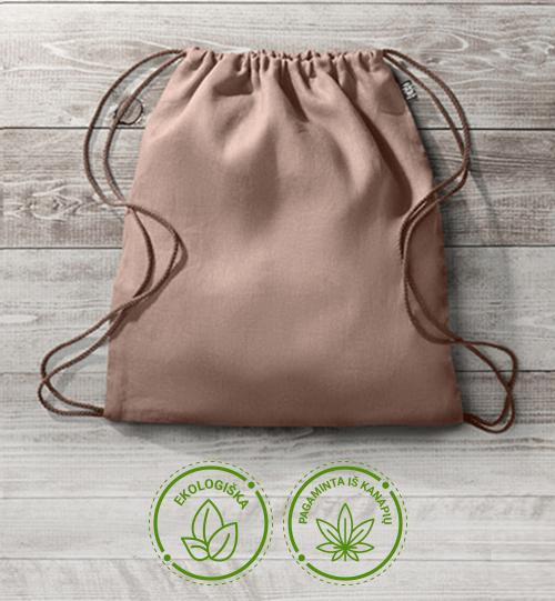Ekologiškas iš kanapių pluošto maišelis/kuprinė MO6163-04 NAIMA BAG
