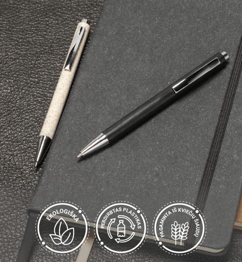 Ekologiškas iš perdirbo plastiko ir kviečių šiaudų rašiklis 10744110 Tidore wheat straw click action ballpoint pen