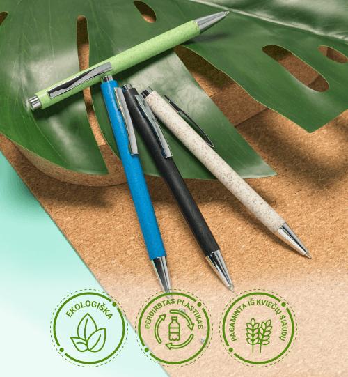 Ekologiškas iš perdirbo plastiko ir kviečių šiaudų rašiklis 10758133 Tual wheat straw click action ballpoint pen