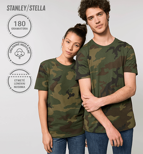 Marškinėliai Stanley/Stella Lietuva Creator AOP su kamufliažiniu raštu STTU 828 Unisex
