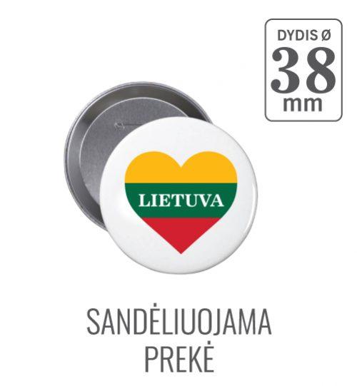 Apvalus ženkliukas Lietuva Širdelė (Myliu Lietuvą) 38 mm