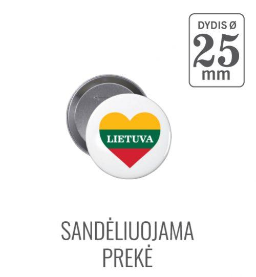 Apvalus ženkliukas Lietuva Širdelė (Myliu Lietuvą) 25 mm