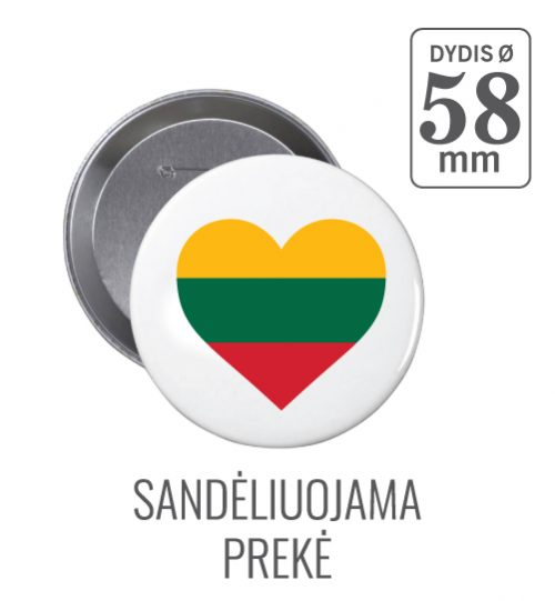 Apvalus ženkliukas Širdelė (Myliu Lietuvą) 58 mm