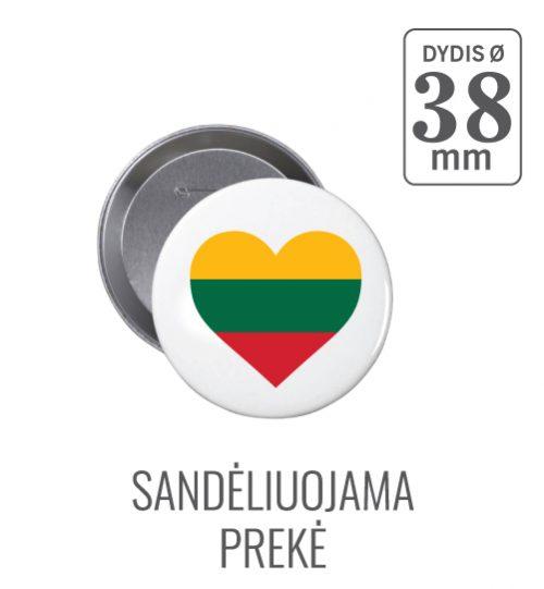 Apvalus ženkliukas Širdelė (Myliu Lietuvą) 38 mm