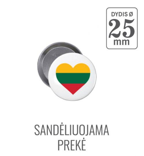 Apvalus ženkliukas Lietuva (Myliu Lietuvą) 25 mm