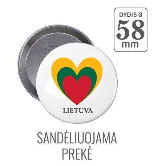 Apvalus ženkliukas Lietuva-Širdelė (Myliu Lietuvą) 58 mm