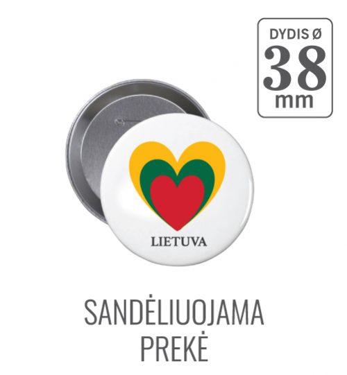 Apvalus ženkliukas Lietuva-Širdelė (Myliu Lietuvą) 38 mm