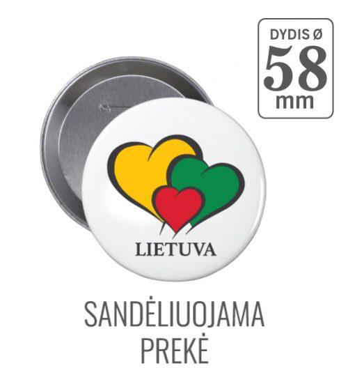 Apvalus ženkliukas Širdelė Lietuva (Myliu Lietuvą) 58 mm