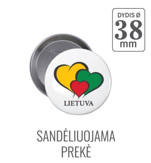 Apvalus ženkliukas Širdelė Lietuva  (Myliu Lietuvą) 38 mm
