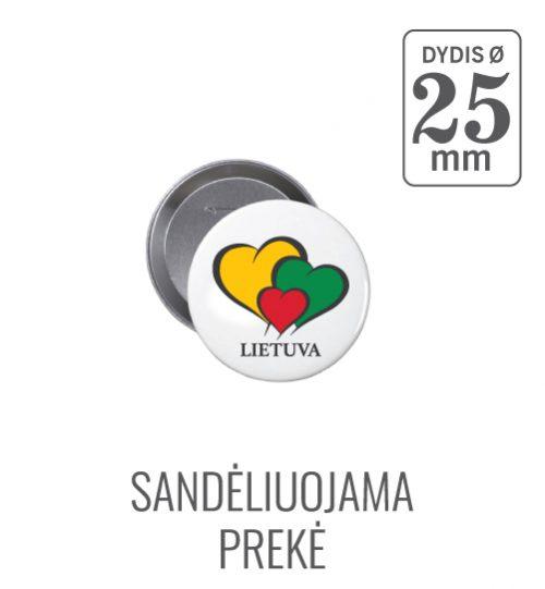 Apvalus ženkliukas Širdelė Lietuva  (Myliu Lietuvą) 25 mm