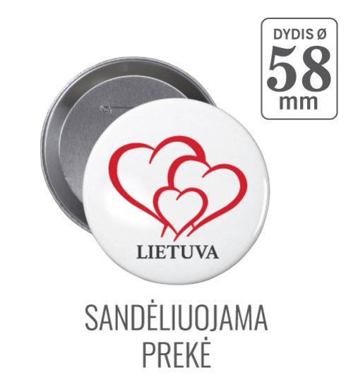 Apvalus ženkliukas Lietuva Širdelė (Myliu Lietuvą) 58 mm