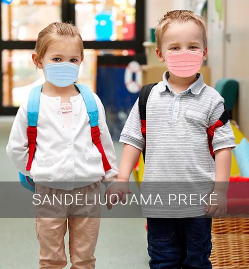 Vienkartinės spalvotos veido kaukės vaikams