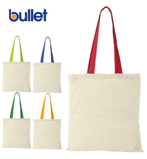 Maišeliai Bullet Nevada cotton tote bag coloured handles 12013106