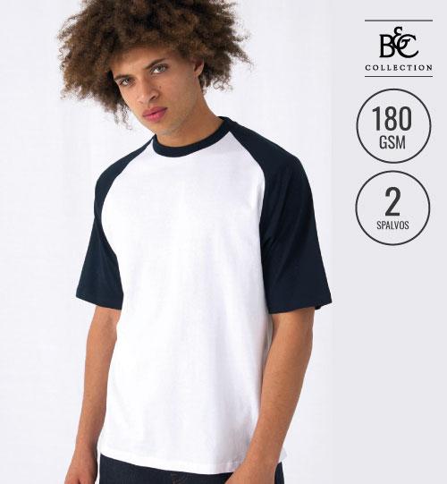 Marškinėliai vyriški   BASE-BALL  117.42 TU020  B&C