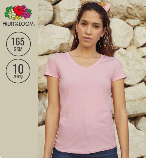 Moteriški marškinėliai V kaklu  129.01 61-398-0 FRUIT OF THE LOOM