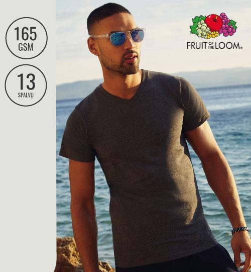Vyriški marškinėliai V-kaklu  164.01 61-066-0 FRUIT OF THE LOOM