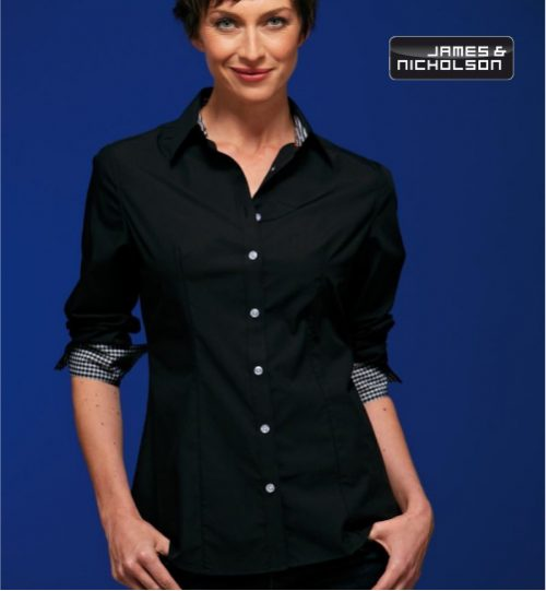 CC Marškiniai James&Nicholson Poplin Checked Blouse 02.0618 | JN 618 women's