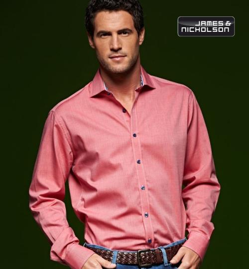 CC Marškiniai James&Nicholson Dot Pattern Shirt longsleeve 02.0634 | JN 634 men's