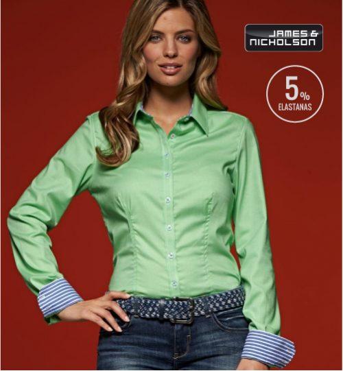 CC Marškiniai James&Nicholson Dot Pattern Shirt longsleeve 02.0633 | JN 633 women's