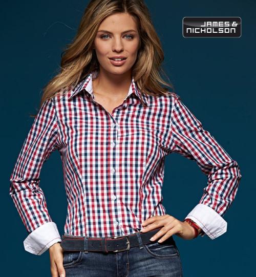 CC Marškiniai James&Nicholson Poplin Checked Blouse longsleeve 02.0616 | JN 616 women's