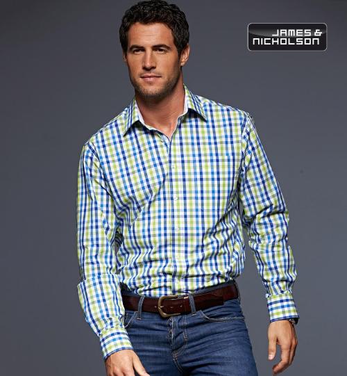CC Marškiniai James&Nicholson Poplin Checked Shirt longsleeve 02.0617 | JN 617 men's