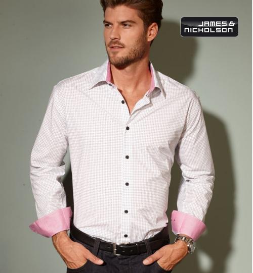 "CC Marškiniai James&Nicholson Popline Shirt ""Dots"" 02.0674 | JN 674 men's"