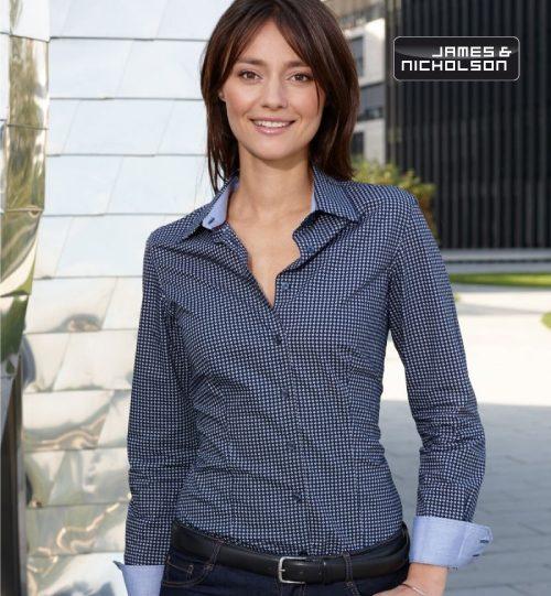 "CC Marškiniai James&Nicholson Popline Shirt ""Dots"" 02.0673 | JN 673 women's"