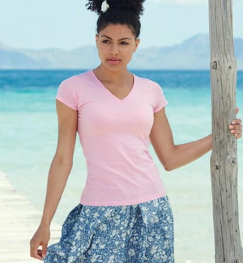 Moteriški marškinėliai V kaklu FRUIT OF THE LOOM 129.01