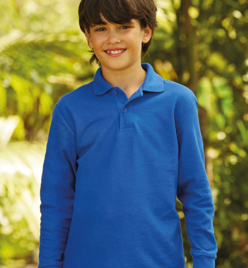 Polo marškinėliai Long Sleeve Polo Kids 578.01 63-201-0 FRUIT OF THE LOOM