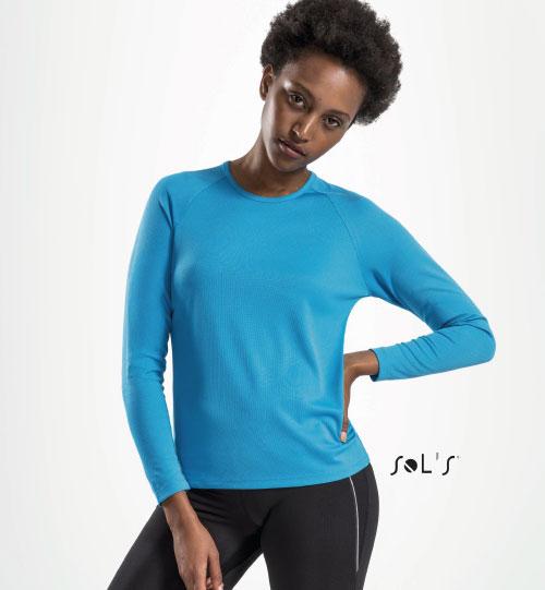 Sportiniai marškinėliai SPORTY LSL WOMEN 02072 SOLS
