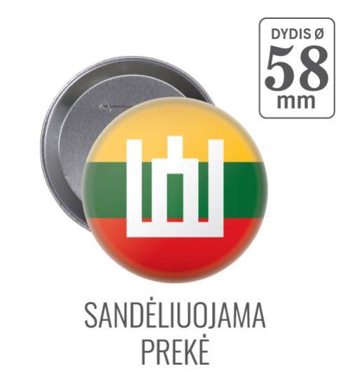 Apvalus ženkliukas Lietuvos vėliava ir Gedimino stulpai Ø 58 mm
