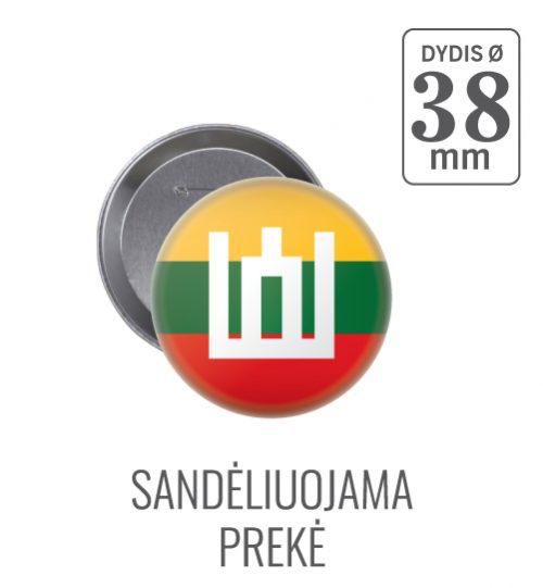 Apvalus ženkliukas Lietuvos vėliava ir Gedimino stulpai Ø 38 mm