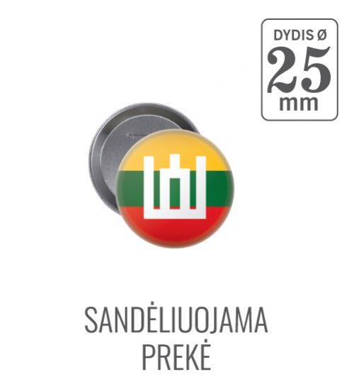 Apvalus ženkliukas Lietuvos vėliava ir Gedimino stulpai Ø 25 mm